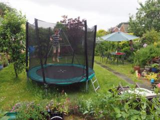 Rowan jumping on the trampoline
