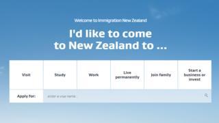 Screenshot taken from INZ website