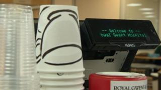 Cups at Royal Gwent Hospital canteen