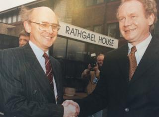 Sir Nigel first shook hands with Martin McGuinness in 1999