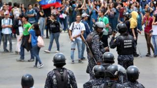 Manifestación en apoyo a Juan Guaidó el jueves.