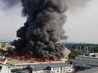 Part of Europa-Park on fire in Germany