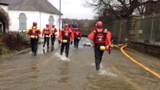 On Boxing Day, Aberglaslyn Mountain Rescue Team rescued people from their flood-hit homes near Beaumaris castle, on Anglesey