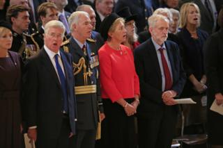 Jeremy Corbyn during singing of National Anthem at St Paul's on 15 September
