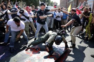 People clash at a rally in America.