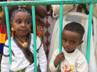 Children at Tigray Ashenda Festival in Ethiopia