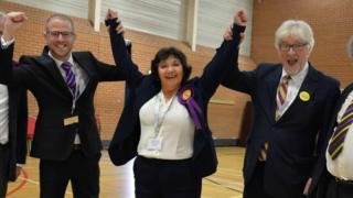 UKIP's Caroline Jones celebrates becoming an assembly member