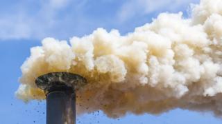 ปล่องไฟที่ปล่อยคาร์บอนไดออกไซด์ออกมา