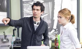 Damien Chazelle directing Emma Stone in La La Land