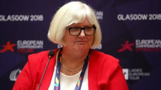 Jane Allen, CEO of British Gymnastics speaks during the Glasgow 2018 European Championships Press Conference