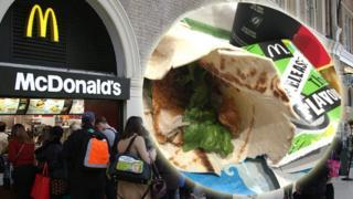 McDonald's veggie wrap with chicken