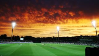 The sunset cast brilliant shades of orange over Canberra's Manuka Oval.