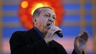 ประธานาธิบดี เรเจป ทายยิป แอร์โดอัน ของตุรกี ปราศรัยที่ทำเนียบประธานาธิบดีในกรุงอังการา หลังทราบผลประชามติ,ตุรกี,ประชามติ