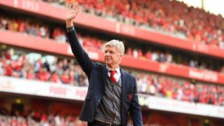 Arsenal manager Arsene Wenger waves farewell to the Arsenal fans at the end of the Premier League match between Arsenal and Burnley at Emirates Stadium on May 6, 2018 in London, England.