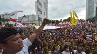 تظاهرکنندگان در جاکارتا