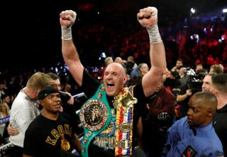 in_pictures Tyson Fury celebrates winning the WBC Heavyweight title, Las Vegas. 23 February 2020.