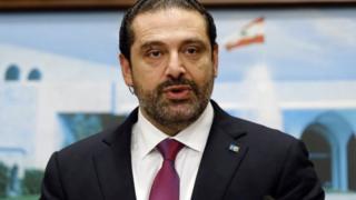"Lebanon""s Prime Minister Saad al-Hariri speaks after a cabinet meeting in Baabda near Beirut"