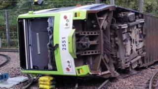 The tram which derailed near the Sandilands stop in Croydon