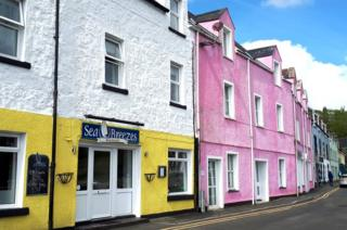 Ice-cream coloured buildings in Portree,