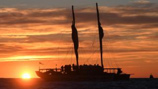 Waka of the Te Moananui flotilla arrive on October 05, 2019 in Gisborne, New Zealand.