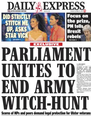 Daily Express front page - 23/10/18