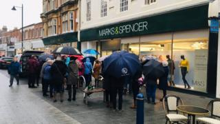 The protest outside Felixstowe's Marks & Spencer