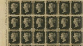 Proof sheet of Penny Black stamps