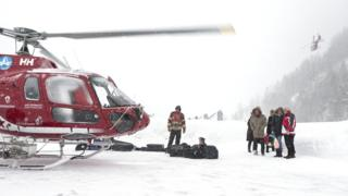 Helicopter airlift from Täsch to Zermatt, Switzerland, 21 January 2018