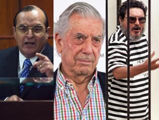 Vladimiro Montesinos, Mario Vargas Llosa y Abimael Guzmán.
