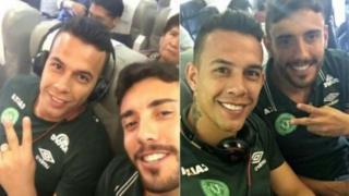 Los futbolistas del Chapecoense Marcos Danilo Padilha y Alan Ruschel antes de despegar.