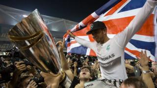 Lewis Hamilton celebrates 2014 World Title