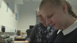 Amy is learning Braille at the Royal Blind School in Edinburgh