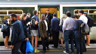 Passengers on train platform