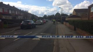 Police have closed Balfour Road and are conducting house-to-house inquiries