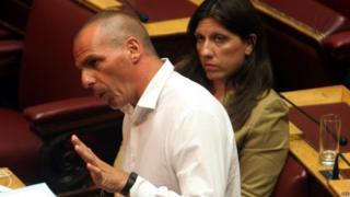 Former Greek Finance Minister Yanis Varoufakis and speaker Zoe Konstantopoulou