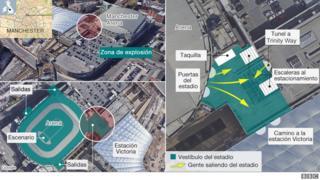 Mapa del ataque de Manchester