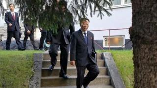 North Korean delegates, including top negotiator Kim Myong-gil, leaving the North Korean embassy in Stockholm - 5 October