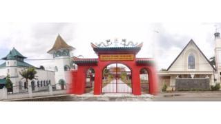 Gereja, klenteng dan masjid di desa Pabian, Sumenep
