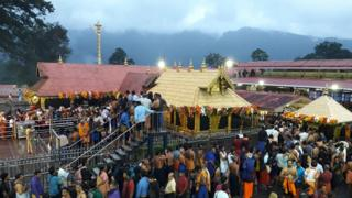 Devotees inside the Sabarimala temple