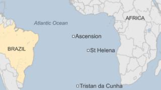 Map showing where St Helena is