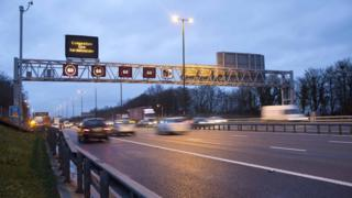 A so-called smart motorway in operation on the M4/M5 junction
