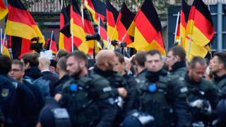 Photo of German policeman at rally in Chemnitz. File photo