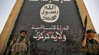 Ele geçirdikleri Havice kentinde IŞİD logosu önünde poz veren Haşdi Şabi milisleri