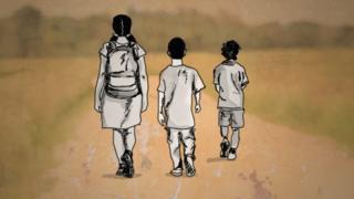 Crianças venezuelanas cruzando a fronteira