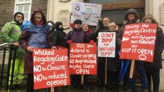 Whitland recycling centre protesters