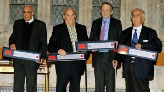 "(l-r) Ahmed ""Kathy"" Kathrada, Denis Goldberg, Lord Joel Joffe and George Bizos"