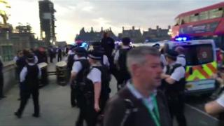 Police on Westminster Bridge, London