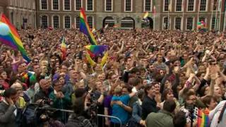 Thousands of same-sex marriage campaigners celebrated in Dublin after the result of the referendum in May but the law must still pass through parliament