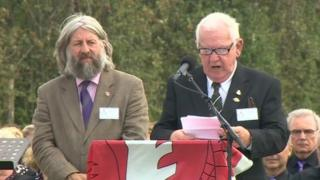 Peter Carter Jones, co-ordinator of the Welsh Memorial in Flanders Campaign Group, addressed the service