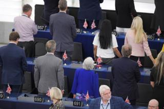 Brexit Party MEPs turn their backs during the European anthem ahead of the inaugural session at the European Parliament, 2019